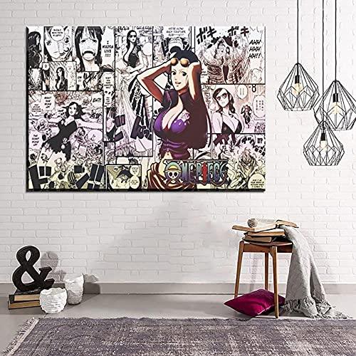 1 peça Anime One Piece Nico Robin Imagens Impressões Arte de Parede Pintura em Tela Pôster Decoração de Casa Para Sala de Estar Moldura Modular Arte de Parede para Quarto Banheiro Decoração de Parede TIEHENG FUTYE (40 x 60 cm)