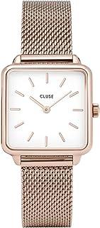 CLUSE LA TÉTRAGONE Rose Gold Mesh White CL60003 Women's Watch 29mm Square Dial Stainless Steel Strap Minimalistic Design Casual Dress Japanese Quartz Precision