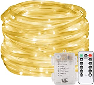 LE Outdoor Rope Lights Waterproof, 33ft Garden String Lights Battery Powered, Warm White, 8 Modes/Timer/Remote Control, 10...