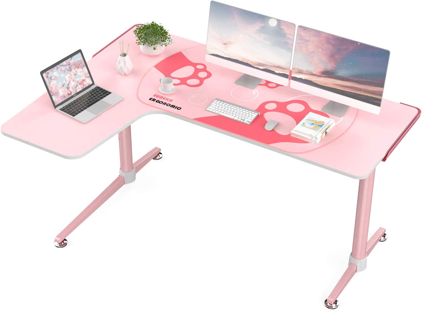 EUREKA ERGONOMIC L60 Corner Gaming Desk, L-Shape Pink Gaming Computer Desk Home Office Writing Table 60 X 43in W Mousepad Popular Gift for Girl/Female/E-Sports Lover Left Side