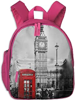 Lovely Schoolbag London Telephone Booth in The Street Double Zipper Waterproof Children Schoolbag for Teens