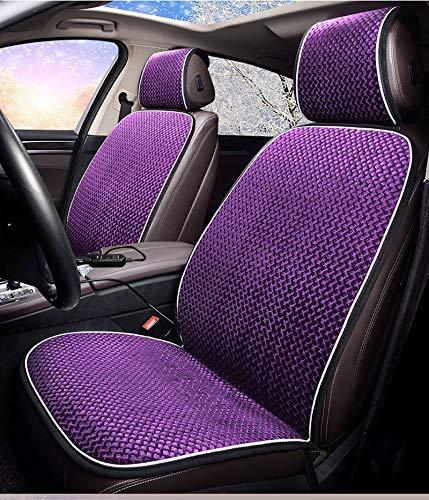 Coussin Chauffant De Siège/Chauffage De Voiture, Garniture Double De Peluche De L'hiver 12V, 5 Couleurs Disponibles, (2PCS),Purple