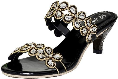 HAOYUXIANG Strass boutique pantoufles femme poisson bouche mode diamant sandales grande taille chaussures de mariage chaussures (Couleur   Noir)