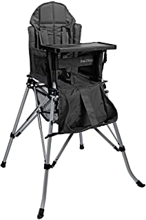 One2Stay Portable Travel High Chair with Adjustable Backrest (6-36 Months) - Comfortable Foldable Baby Feeding Chair - 5-Point Safety Harness and Double Locking System - Easy to Clean (Black)