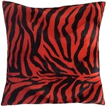 pillowerus Faux Fur Red/Black Animal Zebra Pattern Decorative/Throw Pillow Case/Cushion Cover