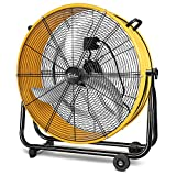 Simple Deluxe 3 Speed Circulation for Industrial, Commercial, Residential, and Shop Use 24 Inch High Velocity Air Movement Heavy Duty Metal Drum Fan, 1 pack, Yellow