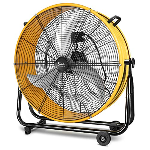 Simple Deluxe 3 Speed Circulation for Industrial, Commercial, Residential, and Shop Use 24 Inch High Velocity Air Movement Heavy Duty Metal Drum Fan, Yellow