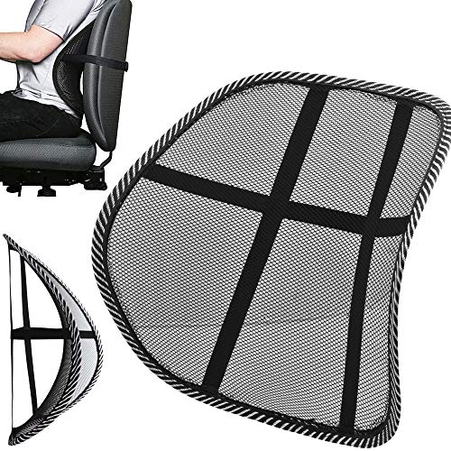 Mesh Back Support Lumbar Lower Back Pain Relief Lumber Cushion Air Flow with Elasticated Positioning Strap Home Office Chair Car Seat