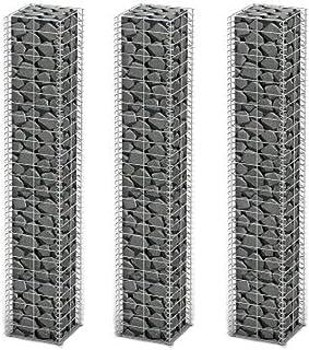 Galvanized Wire Gabion Wall Set 25 x 25 x 150 Cm (3 Pcs)