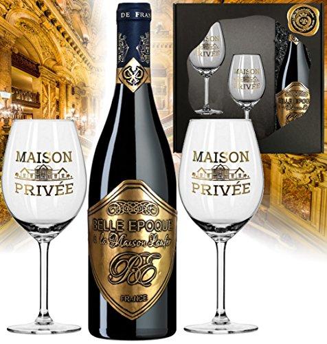 Belle Epoque a la Maison Laufer Weingeschenk Bordeaux inkl. 2 Rotweingläser Frankreich Geschenkset Rotwein Liebhaber Eichenholzfass Gold Geburtstag Weihnachten