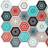 Dundee Deco PG7028 Multicolor Faux Hexagon Mosaic, 3.2 ft x 1.6 ft, PVC 3D Wall Panel, Interior Design Wall Paneling Decor, 5.2 sq. ft.