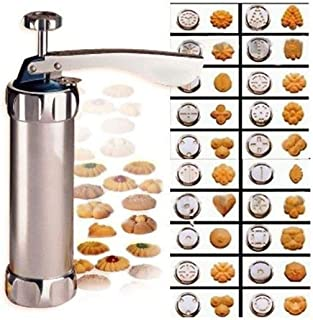 Cookie Press Maker Kit for DIY Biscuit Maker and Decoration with 8 Stainless Steel Cookie discs and 8 nozzles…