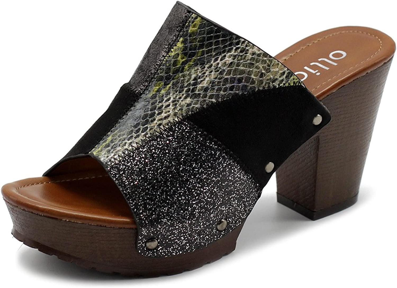 Ollio Women's shoes Patchwork Slip On Peep Toe Chunky Heel Mule Sandals