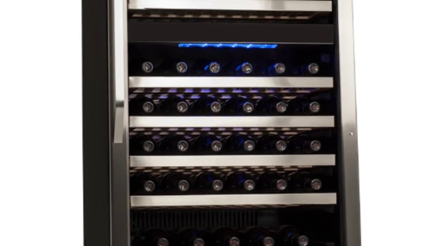 EdgeStar CWR1101DZ 110 Bottle Built-In Dual Zone Wine Cooler Stainless Steel and Black