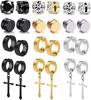 12 Pairs Stainless Steel Non Pierced Magnetic Earrings for Men Women CZ Clip on Dangle Earrings Set