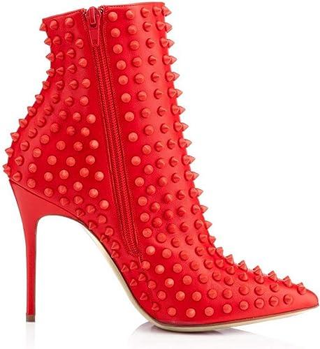 NIUYUAN Sandales à Talons Femmes Noires Chaussures D'été Sexy Rivets Hauts Les Les dames,rouge,44
