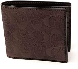 Coach Men's Compact Id Signature Crossgrain Leather Wallet in Brown, F75371 MAH