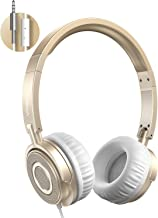 On Ear Headphones with Mic, Vogek Lightweight Portable Fold-Flat Stereo Bass Headphones with 1.5M Tangle Free Cord and Microphone-Gold