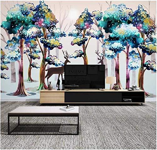 Papel tapiz Gigante Poster Pintado a mano Elk Color Woods Christmas Wallpaper 3D Mural Effect-200Cmx140Cm