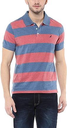 AMERICAN CREW Men's Cotton T-shirt Blue and Brick Red Melange