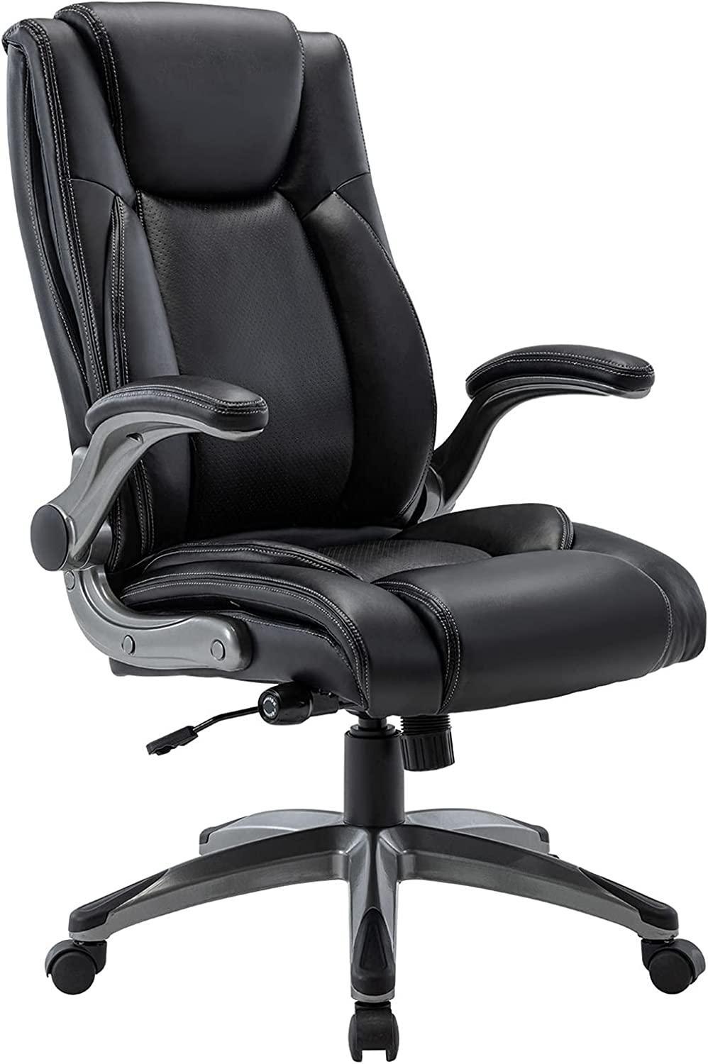 STARSPACE Office Chair with Flip-up Arms, High-Back Executive Computer Desk Task Swivel Chair Bonded Leather with Adjustable Height and Built-in Lumbar Support: Office Products