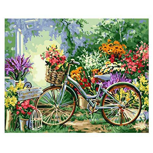 ZWBBO Canvas schilderij Decoratieve schilderijen Kleurplaten Door cijfers Verf Door Aantal Foto Bloem Fiets Schilderen Kalligrafie