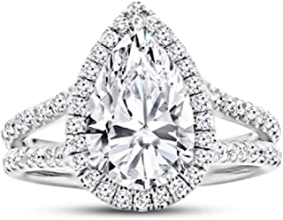 1.75 Carat GIA Certified 14K White Gold Split Shank Pear Cut Diamond Engagement Ring (1 Ct K Color SI2 Clarity Center)