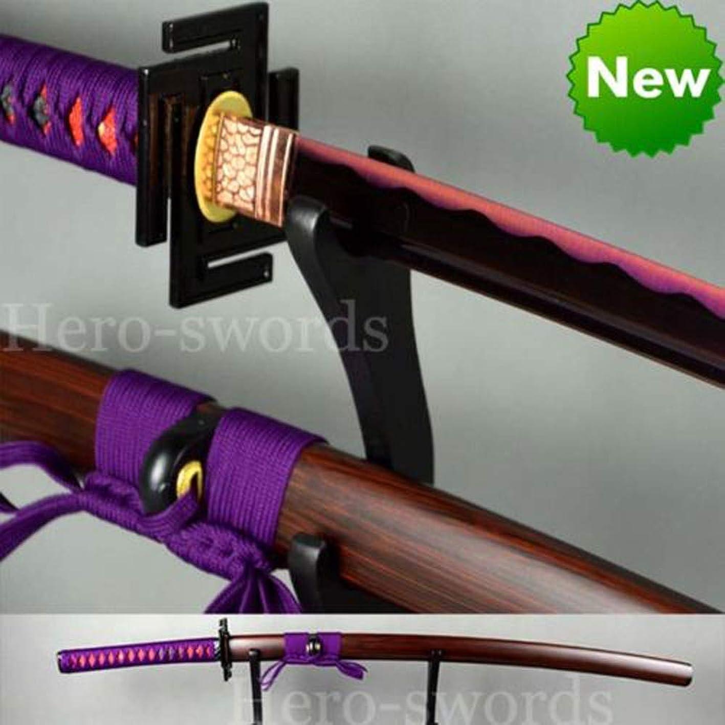 Handmade 1060 high Carbon Steel Purple Blade Katana,Ninja, Full Tang Sharp Japanese Samurai Sword Can Bamboo Trees tdtxqfgdeud488