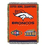 Officially Licensed NFL Denver Broncos 'Commemorative' Woven Tapestry Throw Blanket, 48' x 60', Multi Color