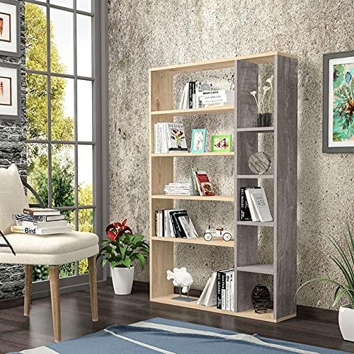 Homemania Libreria Nova, Legno, Rovere-Grigio Scuro, 98,6x22x150 cm