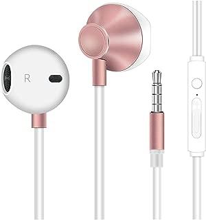 イヤホン 高音質 重低音 リモコン付き マイク付き 通話可能 ステレオ イヤフォン 3.5mmジャック iPhone/Android対応 有線 通勤用 ピンクゴールド