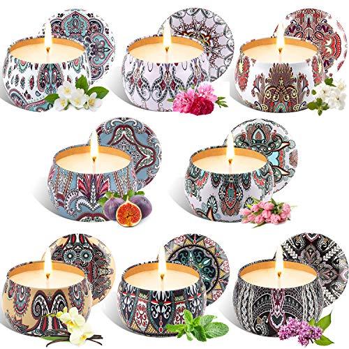 Tobeape Natürliches Sojawachs Duftkerze Geschenkset, 8 Pack Aroma Kerzen Weihnachten, Aromatherapie Kerze Candle für Weihnachten, Bad Geburtstag Yoga Jahrestag Damen Geschenke