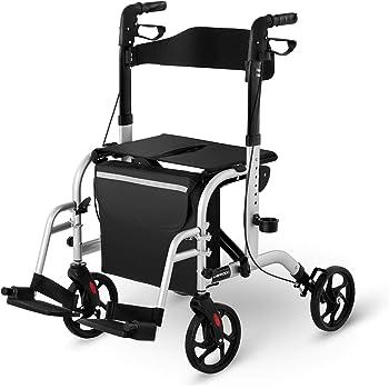 Uniprodo Deambulatore 2 in 1 Rollator per Anziani Sedia a Spinta per Trasporto UNI_ROLL_03 2in1 (Argento, 136 kg, Alluminio, Borsa per la Spesa, 4
