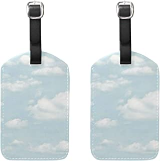 MASSIKOA Clouds Chalk Blue Cruise Luggage Tags Suitcase Labels Bag,2 Pack