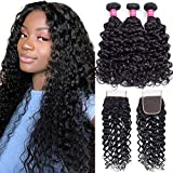 Alibeauty Water Wave Bundles with Closure Free Part(16 18 20+14) 10A Brazilian Virgin Hair Water Wave Wet and Wavy Human Hair Weave 3 Bundles with Closure Natural Black