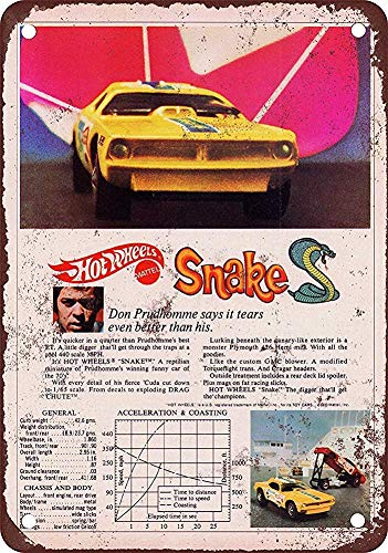 DKISEE Vintage Look Funny Metal Tin Signch, Hot Wheels Snake - Retro Metal Wall Decor Art, Tin Sign Metal Tin Signs Children At Play Sign, Tin Sign Printed with Professional Graphics 18x24 Inch