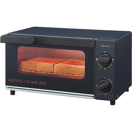コイズミ オーブントースター 2枚焼き タイマー15分 温度調節機能 トレー付き 1000W ブラック KOS-1032/K