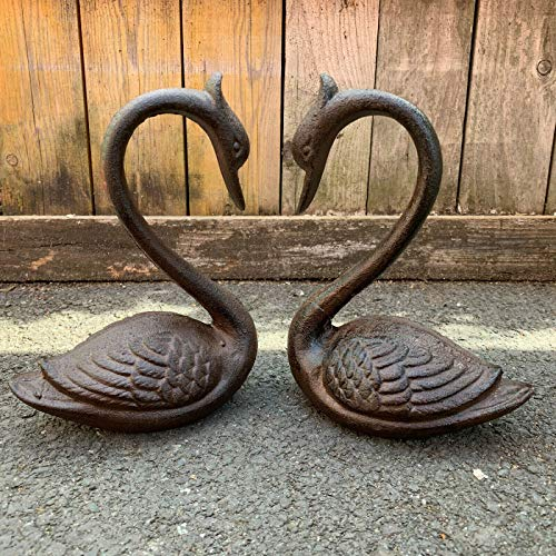 Darthome Ltd Vintage Cast Iron Swan Outdoor Garden Lawn Patio Pond Statue Sculpture Ornaments 20cm (Right)
