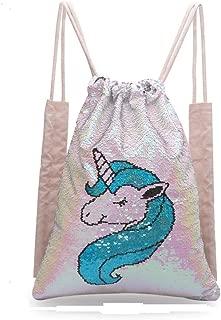 Jax & Olivia Unicorn Drawstring Bag, Backpack for Girls, Mermaid Sequin Bag, Magic Reversible Flippy Sequin Bag for Girls Small Unicorn (Hot Pink & Silver - Teal & Pearl)