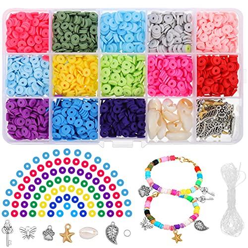 SOSPIRO 2652 Set di Perline Fai da te Bambini Adulti Perline Piatte Creazione di Gioielli Kit Argilla per Bracciale Collana Gioielli di Conchiglie, corde,Ciondolo in lega