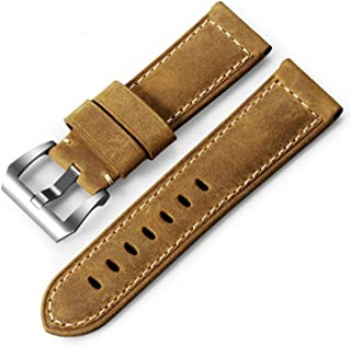 8754cea5afa iStrap 20mm 22mm 24mm 26mm Watch Band Vintage Calf Leather Strap Padded  Asso Strap Brushed Steel