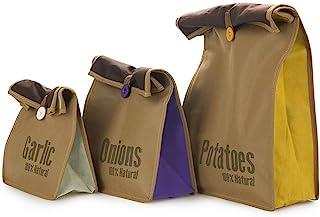 Balvi Bolsas Vegetales Super Fresh Color Marron 3 Bolsas Bolsa para Vegetales Tipo Saco rústico, almacenar Patatas en opti...