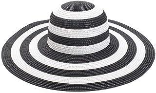 SHENTIANWEI Black and White Stitching Visor Lady's Big Straw hat Summer Travel Beach hat Sun hat (Color : Black and White Stitching)