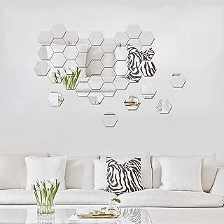 ITTA Hexagon Mirror, Large 32pcs 126x110x63mm 3D Acrylic DIY Wall Decorative Self-adhesive Wall Stickers Removable Geometric Hexagon Wall Mural Wedding Room Home Decor (Silver)