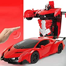 Knmbmg Fashion Design One Button Remote Control Deformation Robot Remote Control Car Charging Flash Two Game Modes Anti-Drop Collision Racing Suitable for Children Boys Best Gift (Color : Red)