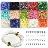 Ewparts 3MM DIY Beads Sets, 15 colores Lustre Mini Beads para DIY Pulseras, collares, pendientes, llaveros y joyas para niños Makin, Clothes Decoration (pipe)
