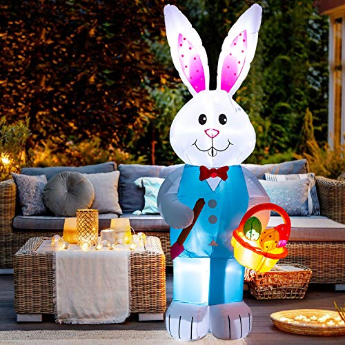 8FT Easter Inflatable Basket Eggs and Bunny- Cute Fun Holiday Blow up Party Decorations for Indoor Outdoor Yard Lawn Garden Photo Prop with LED Lights