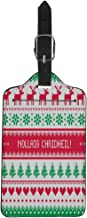 Pinbeam Luggage Tag Green Merry Christmas in Scottish Gaelic Greetings Red Suitcase Baggage Label