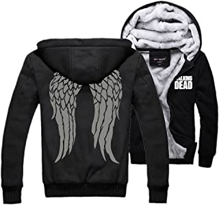 Xcoser Men's Winter Thick Hooded Sweatshirt Jacket with Wings Pattern