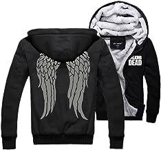 Xcoser Walking Dead Hoodie Daryl Dixon Jacket Zip Up Gray Wings Sweatshirt for Men